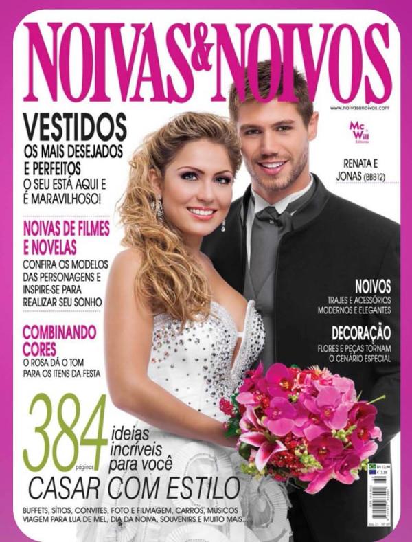 Capa de revista e nova foto ex-BBBs Renata e Jonas vestidos de noivos (Foto: Divulgação / Revista Noivas & Noivos)
