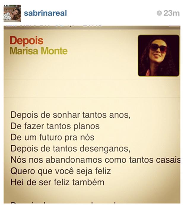 Sabrina Sato posta letra de Marisa Monte (Foto: Instagram/Reprodução)