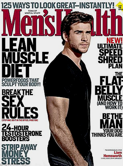 "Liam Hemsworth na capa da revista ""Men's Health"" (Foto: Reprodução / Revista Men's Health)"
