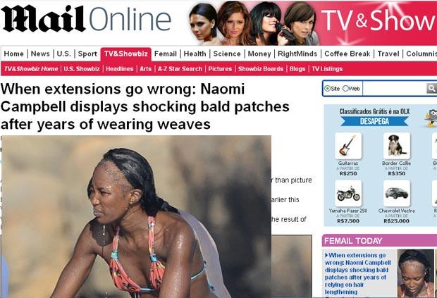 Naomi Campbell aparece quase careca em passeio de barco (Foto: Reprodução/Daily Mail)