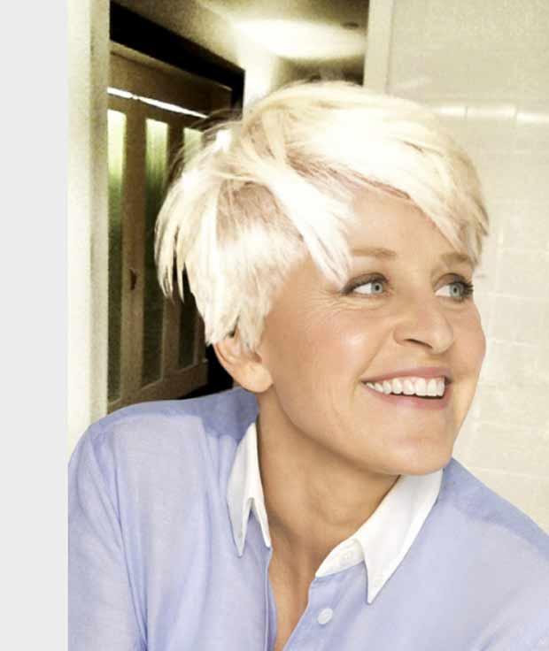 Ellen DeGeneres 'imita' novo corte de cabelo de Miley Cyrus (Foto: Reprodução/Twitter)