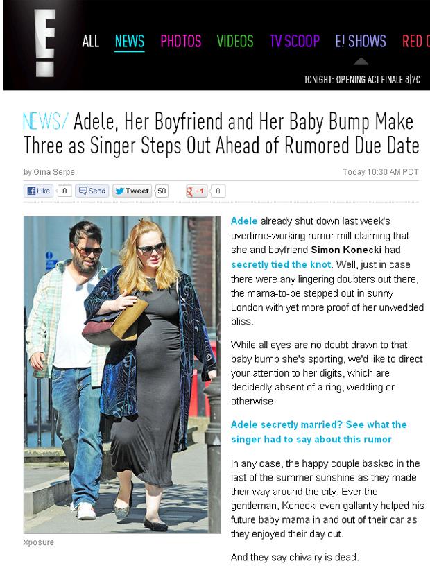 Grávida, Adele passeia em Londres (Foto: Reprodução)
