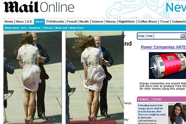Kate Middleton sofre com vento ao desembarcar de avião e segura saia para não mostrar demais (Foto: Reprodução/Daily Mail)