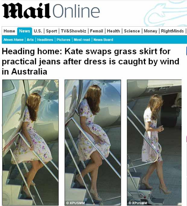 Kate Middleton desembarca na Austrália (Foto: Daily Mail/Reprodução)