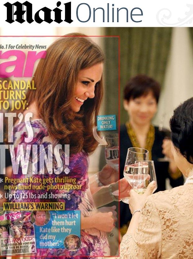 Jornal mostra montagem feita por revista da barriga de Kate Middleton  (Foto: Reprodução/Daily Mail)