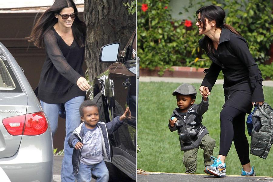 Depois de conseguir manter a notícia em segredo por três meses, a atriz Sandra Bullock revelou que havia adotado um bebê, chamado Loius, em 2010.