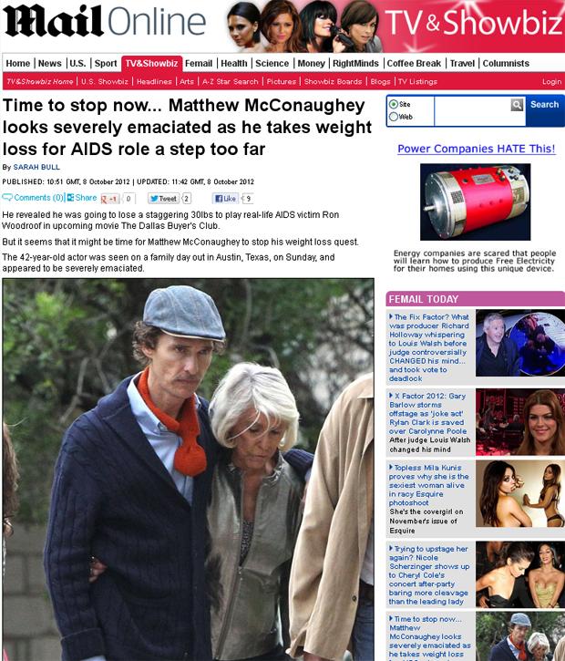 Matthew McConaughey (Foto: Daily Mail/Reprodução)