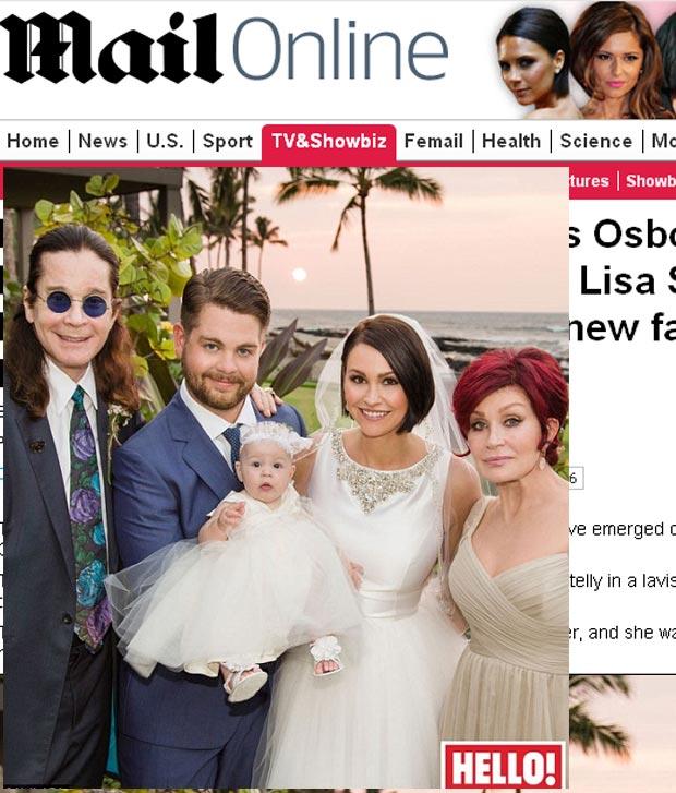 Jack Osbourne divulga foto de seu casamento na revista 'Hello' (Foto: Reprodução/Daily Mail)