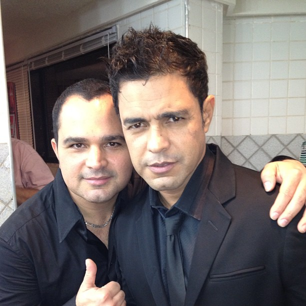 Luciano e Zezé Di Camargo na gravação do DVD de Marina Elali no Recife (Foto: Instagram/ Reprodução)