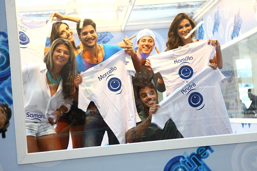 Samara, Kelly, Marcello, Bernardo, Kamilla e André (em sentido horário): os seis participantes da Casa de Vidro