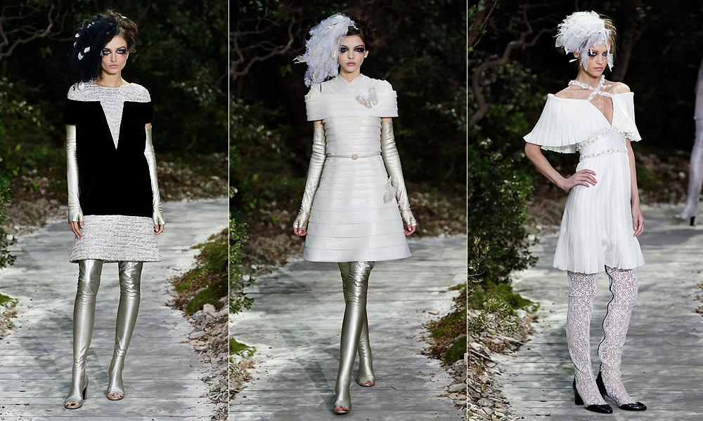 Para combinar botas e luvas longas prateadas, que prometem fazer sucesso nos editoriais de moda