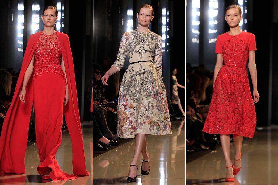 A silhueta mostrada já é clássica do estilista, com a cintura marcada e um leve volume nos quadris