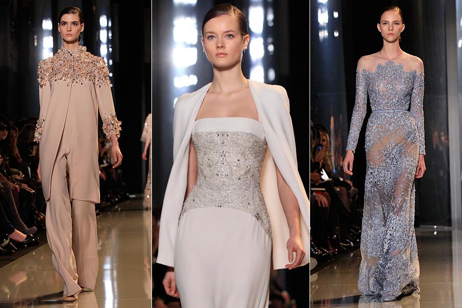 O estilista libanês, mestre em vestidos de festa, encantou com uma coleção em que o foco foram as rendas e transparências