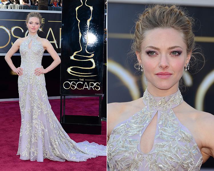 Amanda Seyfried, atriz de 'Os miseráveis', elegeu um vestido Alexander McQueen cheio de bordados para o Oscar
