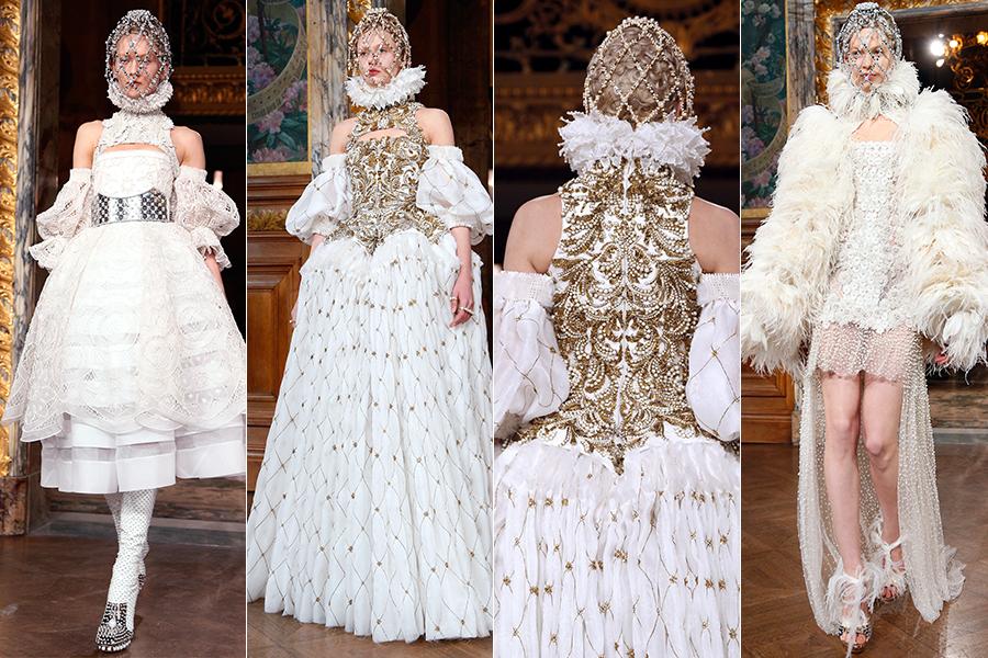 O desfile da grife Alexander McQueen foi uma homenagem barroca ao guarda-roupa do alto clero, dos vestidos de comunhão ao hábito das freiras