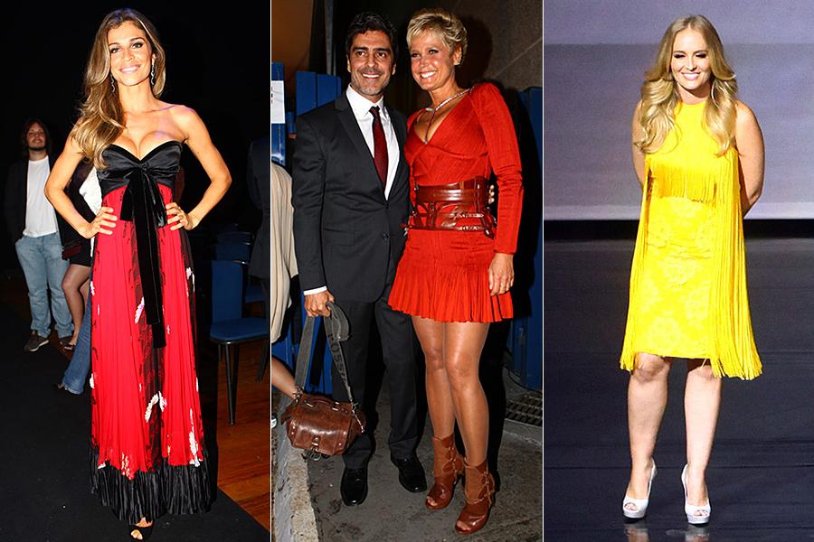 Grazi Massafera e Xuxa, que estava acompanhada do namorado Junno, apostaram no decotão, enquanto Angélica elegeu um modelo mais soltinho e com franjas