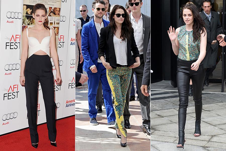 Mas Kristen também gosta de ousar em figurinos nada básicos. As calças compridas se destacam neste sentido: ela chama atenção com versões alfaiataria, estampadas ou em couro justíssimo.