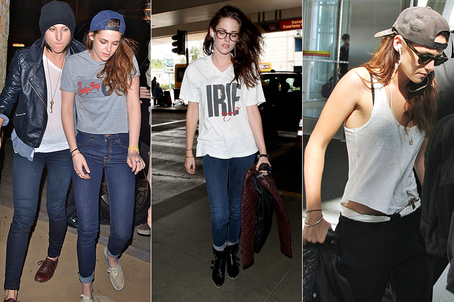 No dia a dia, Kristen Stewart - a Bela, da saga 'Crepúsculo' - costuma priorizar o conforto com looks básicos. Camisetas larguinhas, jeans e tênis são as peças preferidas da atriz.