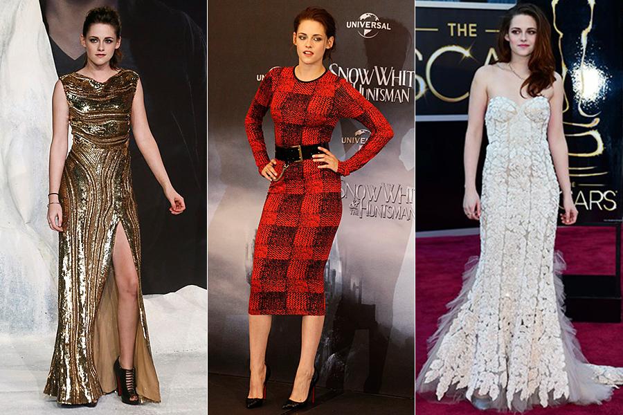 No tapete vermelho Kristen se transforma: os vestidos são glamourosos com brilhos, fendas e bordados. Os modelos mais simples ganham acessórios para completar a produção.