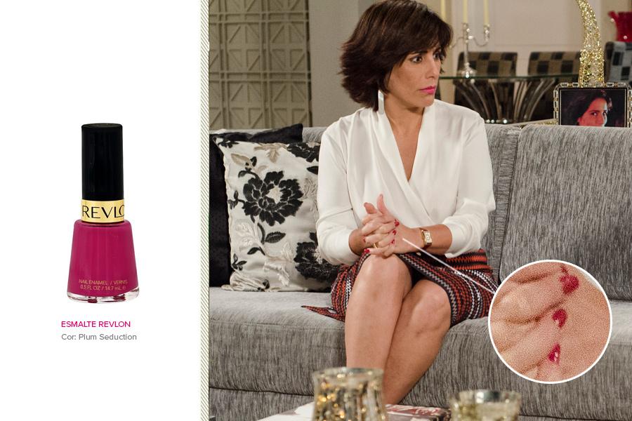 """Quem também usa pink é Glória Pires, em """"Guerra dos Sexos"""". As unhas da atriz são pintadas com esmalte da Revlon na cor Plum Seduction (R$ 19)"""