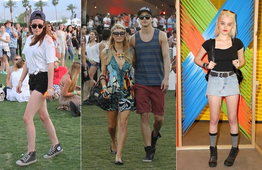 Kristen Stewart e Sky Ferrera (à direita) optaram pelo conforto e simplicidade, enquanto Paris Hilton, acompanhada do namorado, River Viiperi, foi na direção oposta e se jogou nas estampas