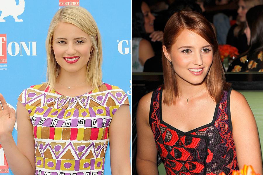 """A atriz Dianna Agron, de """"Glee"""", foi a última a aderir à tendência, ao trocar os fios loirinhos por um tom de ruivo mais fechado"""