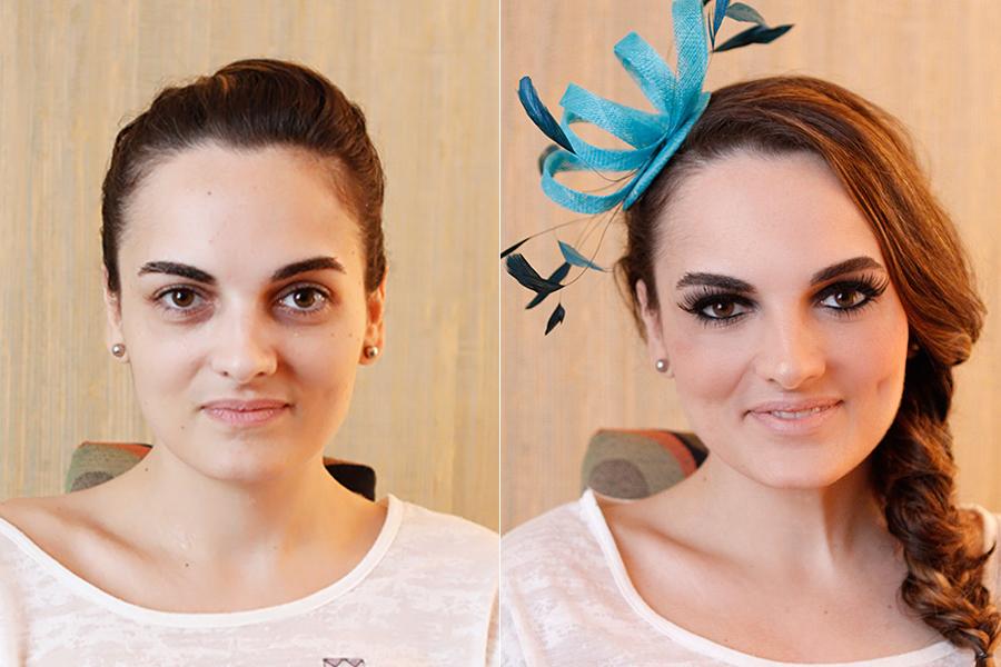A modelo exibe o antes e depois da maquiagem: visual perfeito para madrinhas de casamento