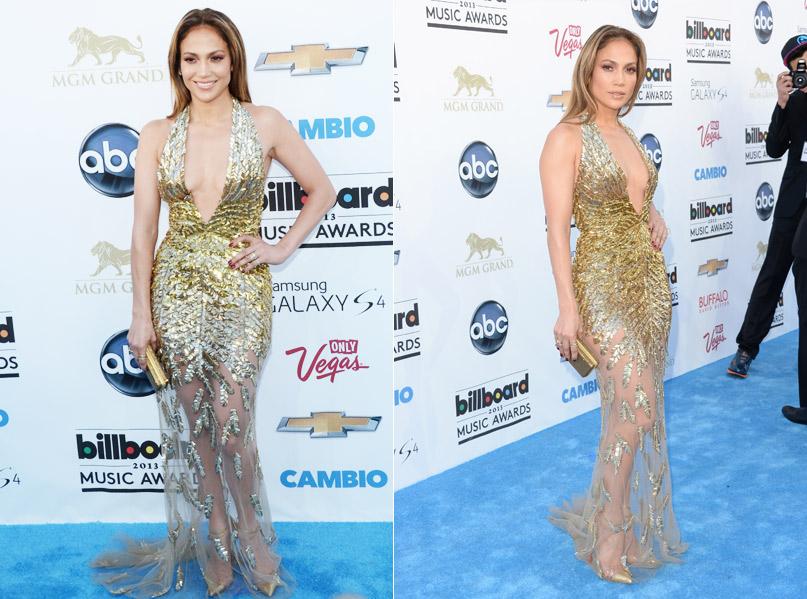 Jennifer Lopez abriu os trabalhos no Billboard Music Awards com um longo Zuhair Murad, que não economizou no decote, no bordado e na transparência