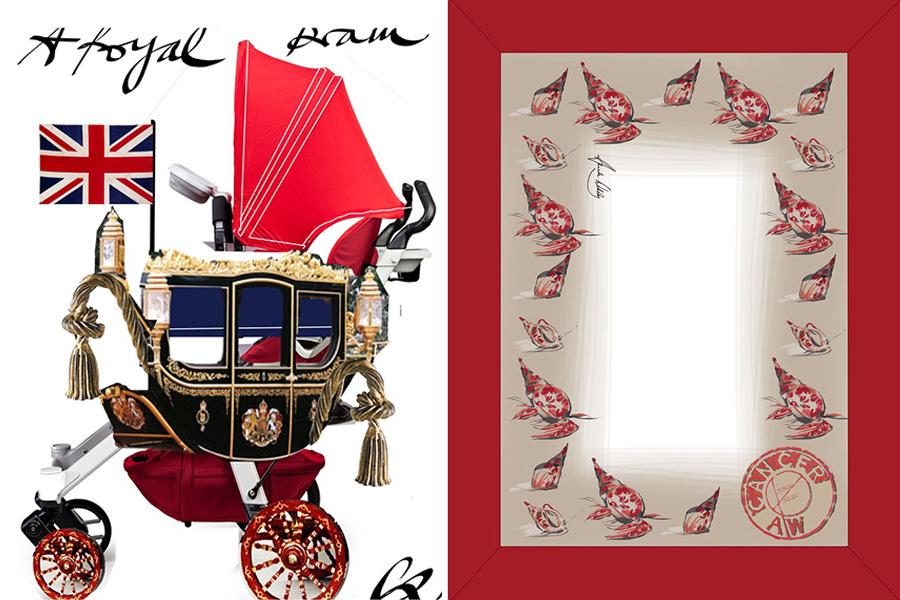 Christian Lacroix criou um carrinho de bebê imitando uma carruagem, enquanto a designer Amanda Wakeley desenhou um cobertor estampado