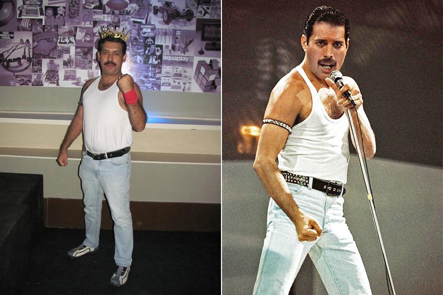 Christiano Marcondes, pai de Sophia, de Fortaleza, não só é a cara do Freddie Mercury como ainda se veste igualzinho ao cantor.