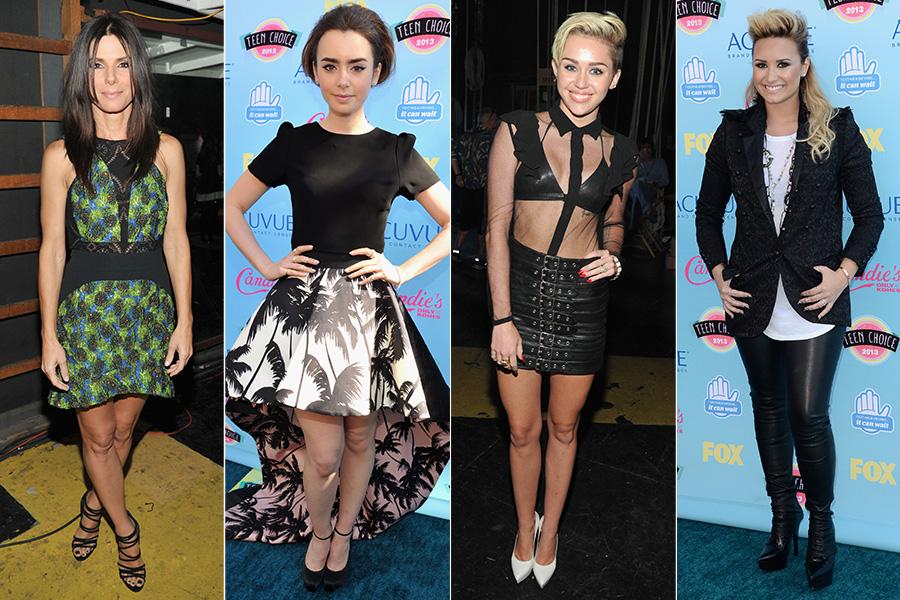 Sandra Bullock usou vestido Antonio Berardi; Lily Collins foi de Houghton & Fausto Puglisi; Miley Cyrus de Saint Laurent; e Demi Lovato de look comportado