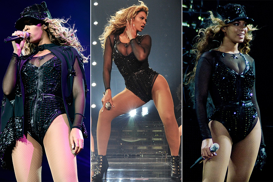 Os bodys cavados e trabalhados com brilhos também fazem parte do repertório da cantora. O modelo acima é Givenchy e as botas são da marca Capezio, especializada em sapatos de dança