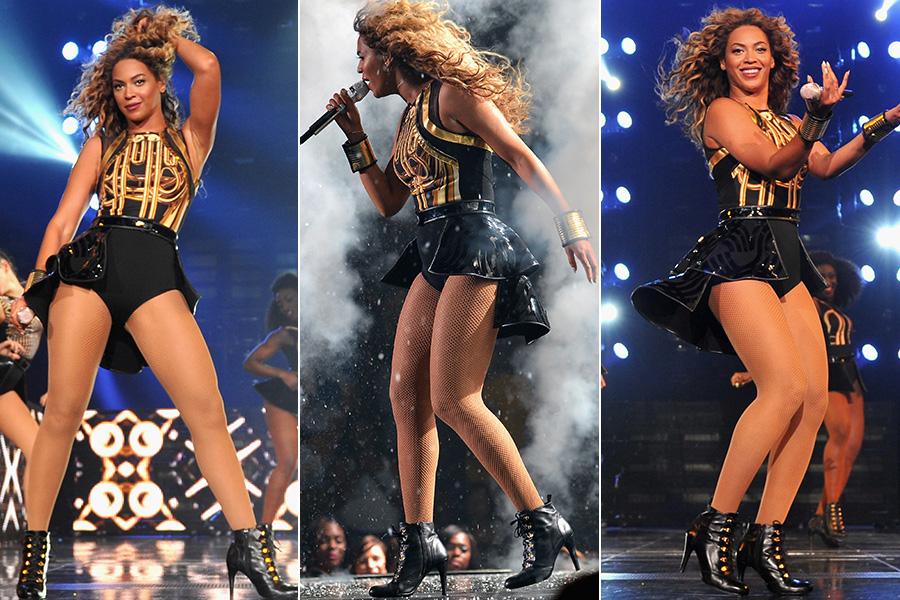 O body com saiote é recorrente entre os looks usados por Beyoncé na turnê. O modelo preto e dourado acima é assinado por David Koma