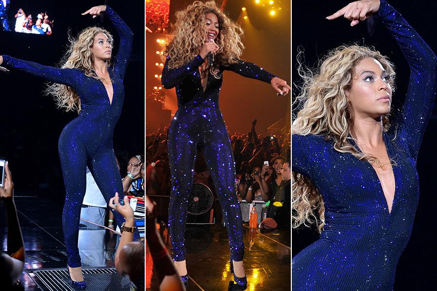 O macacão de paetês azuis que Beyoncé usa desde o começo da turnê - muito parecido com o modelito usado por Ivete Sangalo no Prêmio Multishow - é do designer Vrettos Vrettakos