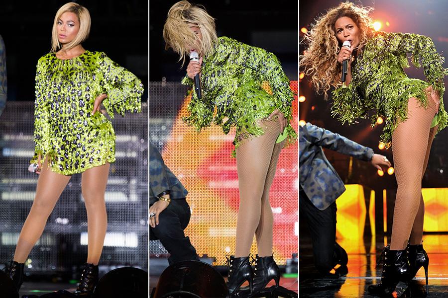 Dona de um corpo invejável, Beyoncé faz questão de usar sempre figurinos extravagantes e sensuais em seus shows, como o vestido de franjas e estampa de oncinha de Emilio Pucci, usado na turnê atual