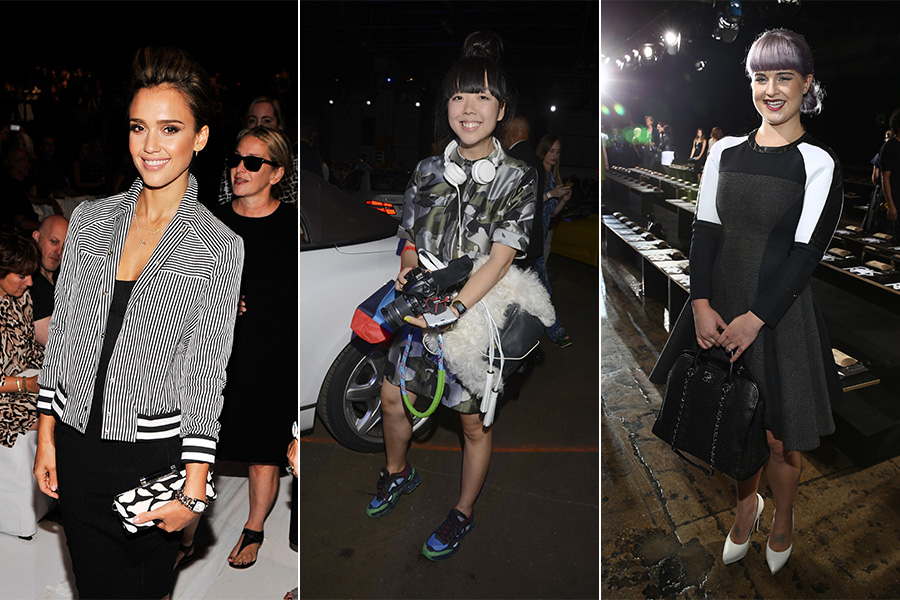 A atriz Jessica Alba, a blogueira Susanna Lau e a apresentadora Kelly Osbourne foram algumas das famosas que estiveram na primeira fila da Semana de Moda de Nova York