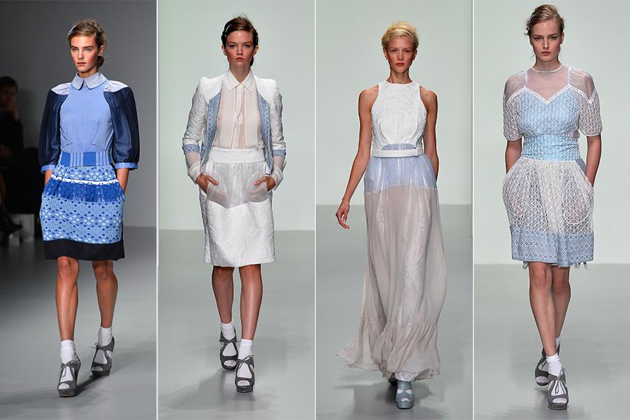 Bora Aksu apostou na leveza com looks em branco e azul clarinho e pegada romântica