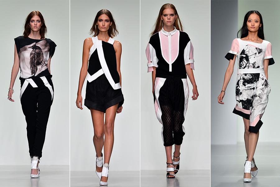 Já o estilista Christopher Raeburn apostou em um verão cheio de grafismos em preto e branco, com toques de rosa