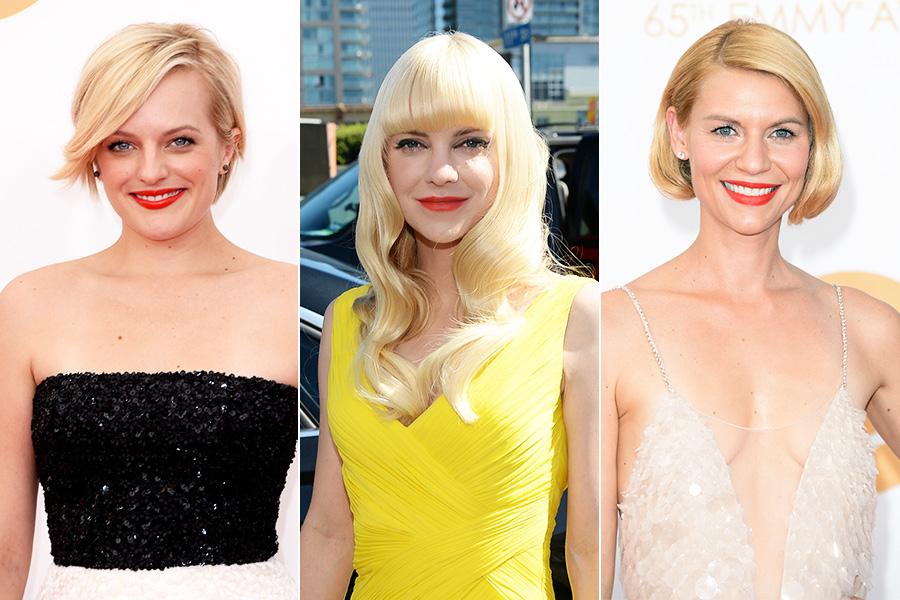 Nenhum evento em Hollywood é completo sem o batom vermelho, aposta de Elisabeth Moss, Anna Faris e Claire Danes. Em comum? O tom mais aberto, que dá um up no visual