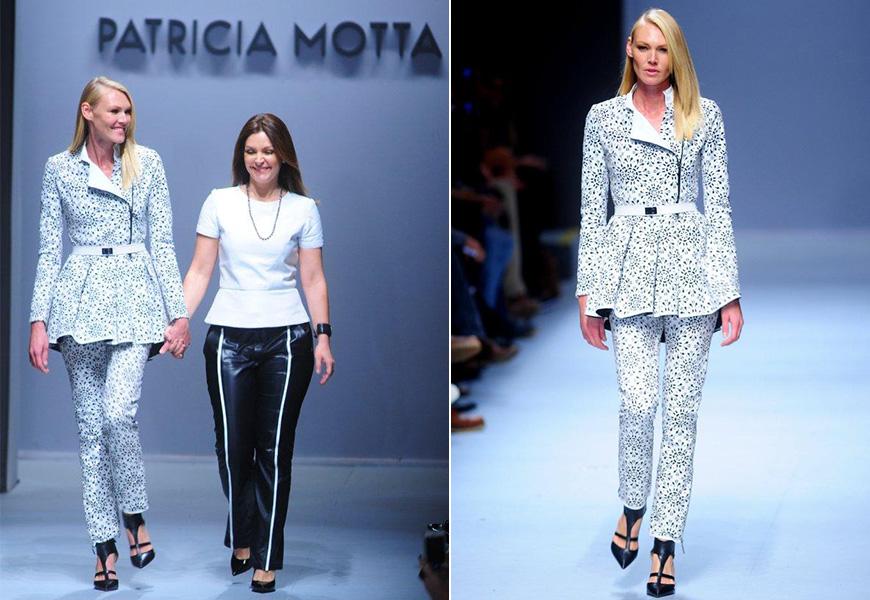 Shirley Mallmann abriu o desfile de Patricia Motta de calça justa e casaco acinturado com peplum mais comprido, segundo a consultora de moda Heloisa Marra