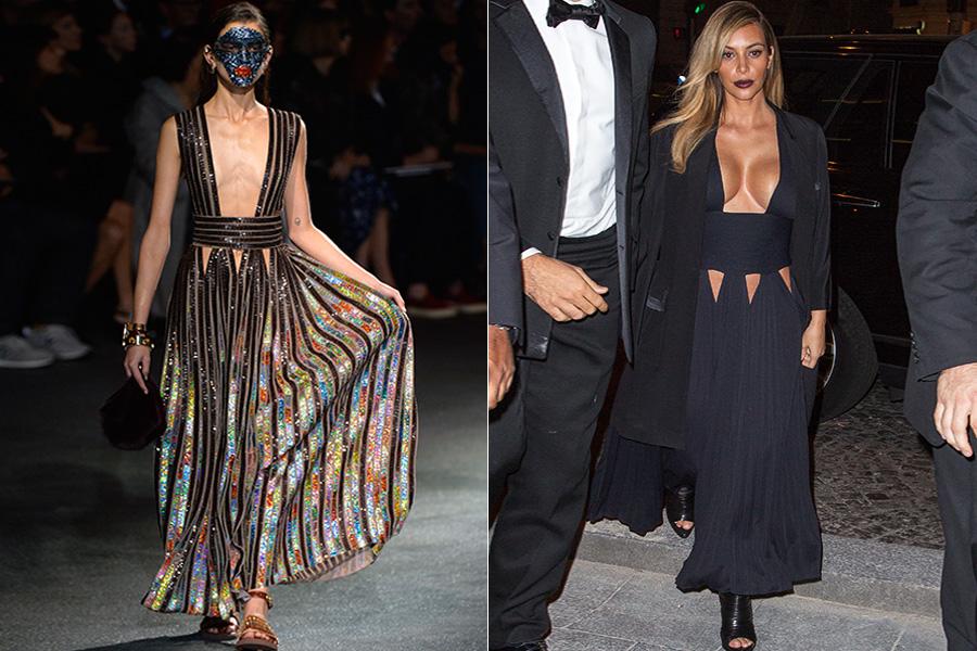 Amiguinha de Ricardo Tisci, estilista da Givenchy, Kim Kardashian não se furtou de fazer várias mudanças no modelito mostrado na passarela