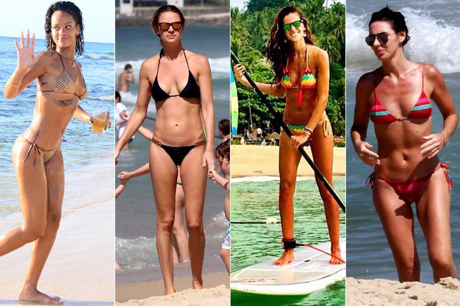 Rihanna, Leticia Birkheuer, Izabel Goulart e Glenda Koslowski: sutiã cortininha e a parte de baixo com lacinho na lateral (com exceção de Letícia) são os preferidos