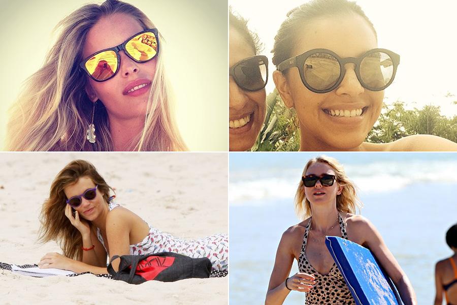 Redondo e wayfarer foram os modelos preferidos de Yasmin Brunet, Mariana Rios, Juliana Didone e Naomi Watts