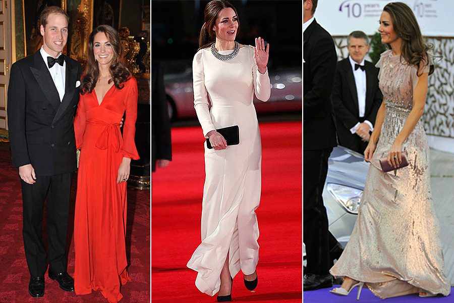 Kate Middleton não segue padrão de estilo em eventos de gala. A princesa vai do superdecote até looks comportados e com brilhos
