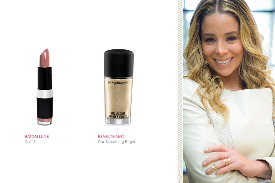 """Em """"Amor à Vida"""", Amarylis (Danielle Winits) usa o esmalte dourado Screaming Bright da MAC. O batom, que também foi um dos mais requisitados, é a cor 12 da marca Lune"""