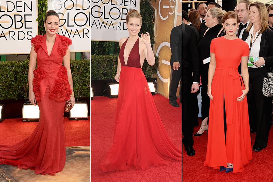Berenice Bejo (de Giambattista Valli), Amy Adams (Valentino) e Emma Watson (Dior Couture) usaram vermelho no tapete vermelho (Berenice e Emma, inclusive, também apostaram no tom para o batom)