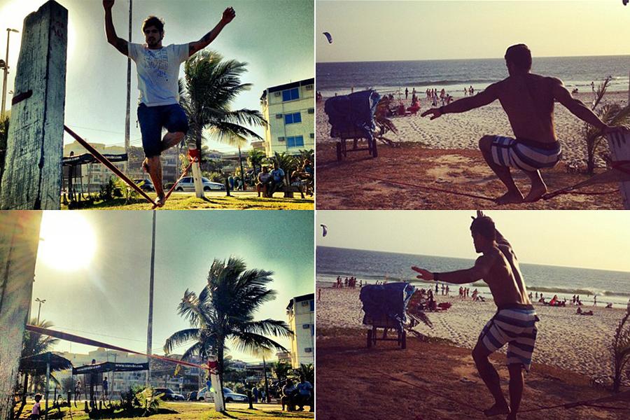 Caio Castro e André Martinelli praticam slackline nas praias cariocas