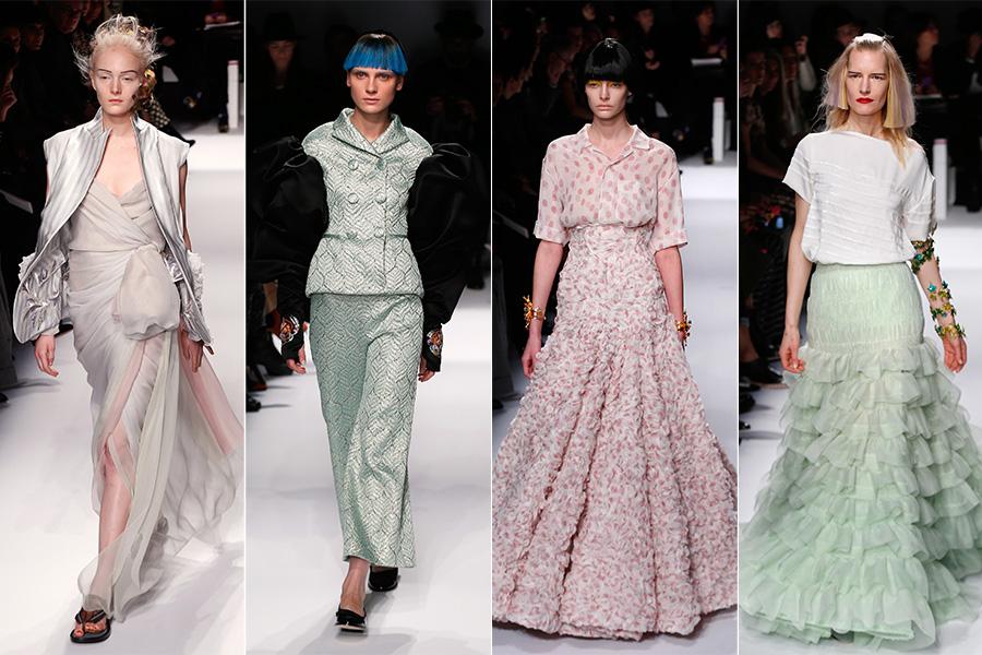 Além dos modelitos em preto e branco, a estilista também mostrou opções em rosa e verde pastel