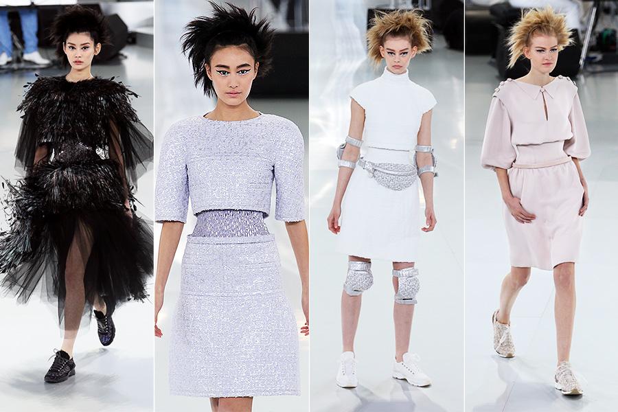 Além das modelos usando tênis, pochetes, cotoveleiras e joelheiras completaram a pegada sportswear