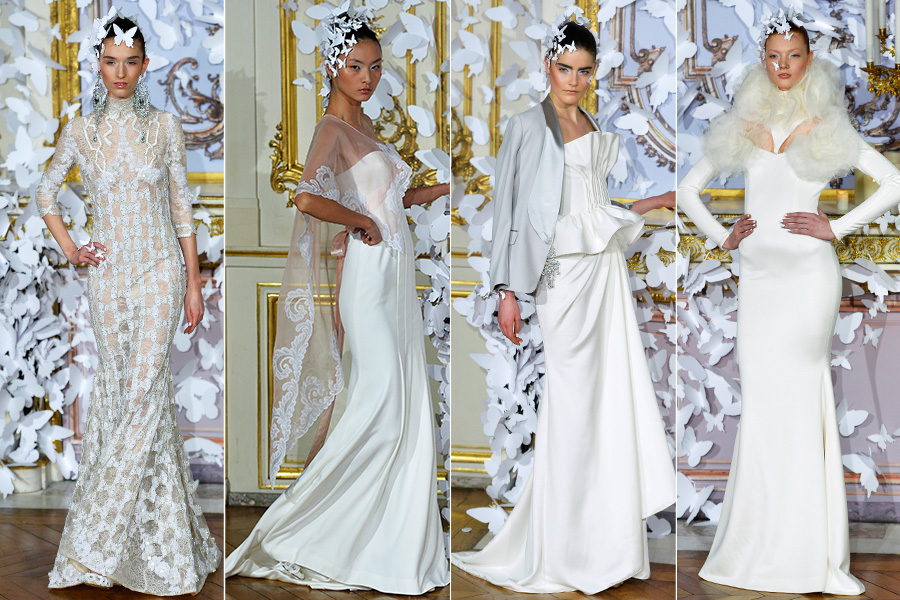 Com uma coleção sempre intricada, Alexis Mabille apostou no branco e no off-white e trabalhou com bordados e diferentes formas